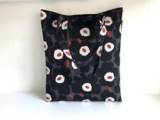Marimekko UNIKKO Waxed Canvas Tasche, schwarz und grau handmade wiederverwendbar...