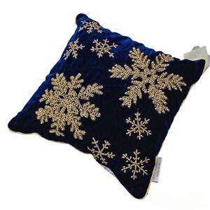 """Glitz Glammer Christmas Snowflakes Gold Deep Blue Beaded 12"""" Toss Pillow"""