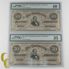 Lot of 2 Sequential 1864 Confederate $50 Graded by PMG as Ch VF-35 & XF-40 EPQ