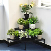 3 Tier Corner Metal Flower Pot Pots Rack Plant Shelf Step Ladder Display Stair