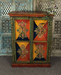 Indian Hand Paintedmango Wood Almirah Cabinet, Furniture, Home And Living