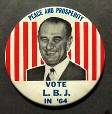 "1964 Vote LBJ, Lyndon B Johnson Presidential Campaign Pinback Button 6"""