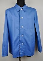 French Vintage Worker Chore Jacket Cotton Over Shirt 40 42 46 XL L M Medium Blue
