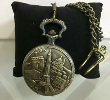Embossed Eiffel tower and Paris design Zinc Vintage Quartz Pocket Watch with
