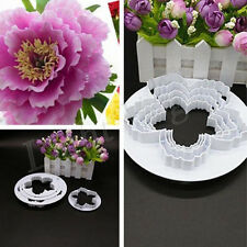 4pc New Peony Flower Fondant Mold Sugarcraft Cake Cookies Embosser Cutter fed LK