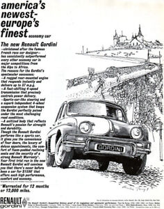 Austin Briggs Rugged Renault Gordini French Rally Car Race 1961 Magazine Ad