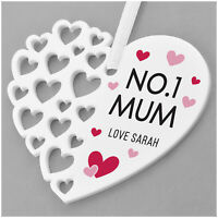 Number One Mum PERSONALISED Birthday Hanging Heart Gifts for Mummy Nanny Mum