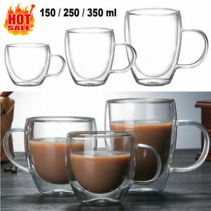 150/350ml Glass Coffee Mug Clear Double Wall Insulated Thermal Tea Cup Drinking