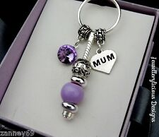 Beautiful MUM FAMILY TREE Rhinestone Charms Purple Bead Keyring Key Ring