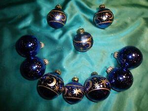 10 alte Christbaumkugeln Glas blau gold Sterne Mond Vintage Weihnachten (Nr.18)