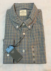 M&S COLLECTION MENS REG FIT PURE COTTON GINGHAM CHECKED SHIRT IN GREEN MIX Sz XL