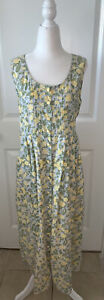VTG April Cornell Trading Floral Dress Yellow Green Sleeveless Cottage Core M