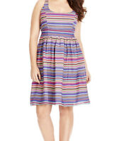 CITY CHIC L multi Coloured Striped Dress Sleeveless Plus Size Summer Rainbow