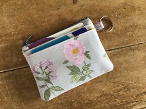 Handmade Credit Card Case Wallet Coin Purse Key Ring Grey Floral Fabric