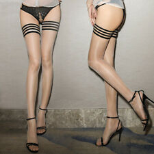Womens Oil Shiny Glossy High Stocking Striped Lace Seethrough Thigh-High Hosiery