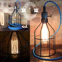 Caston ~ Black Cage Bedside Lamp   Blue Fabric Cable   Bedroom Light   Vintage
