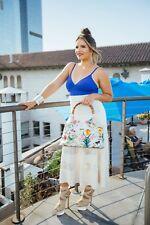 CELINE Vintage Cotton/Silk Blend Ivory Creme Crochet Panel Maxi Skirt - US Med
