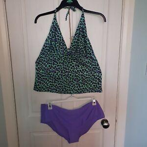 F&F Plus Size 20 / 22 Tankini Swim Wear Halterneck Lilac & Mint Leopard Print
