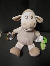 doudou peluche vache mouton beige activité feuille MOTS D'ENFANTS 26cm (2 dispo)