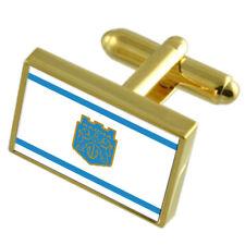 Varna City Bulgaria Gold Flag Cufflinks Engraved Box