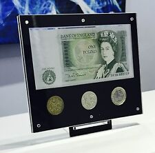 Royal Mint BUNC £1 display + £1 NOTE, FIRST £1 COIN, LAST £1 COIN + NEW £1 COIN
