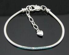 Bracelets Heart For European Beads Pm 10pcs Silver Plated 19cm Snake Chain Charm