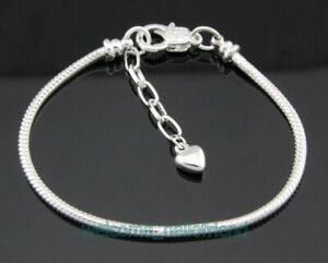 10x Silver Plated 20cm Snake Chain Charm Bracelets Heart For European Beads PM