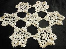 napperon vintage crochet épais aéré centre de table diamètre 40 cm blanc