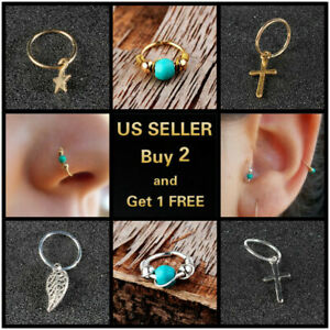 Nose Ring Surgical Steel Nose Ear Lip Rings Hoop Lip Nose Rings Thin Piercing