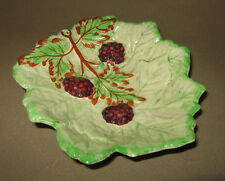 Vintage Brentleigh Ware Majolica Leaf Dish with Blackberries England