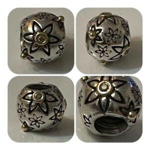 PANDORA SILVER 14ct GOLD 7 LOVE & DIAMOND FLOWER CHARM REF 790399DN RRP £100.00