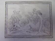 """Lithographie XIXe """" JEUNE FEMME AVEC DES ANGES """" signée Boucher    32x24 1840"""