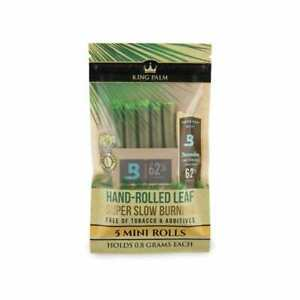 KING PALM 5 PK MINI ROLLS HAND-ROLLED NATURAL LEAF 100% TOBACCO FREE Holds 0.8 g