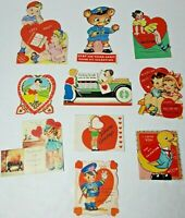 Vtg 1930-40s Valentine Cards Die Cut Lot Of 10 #6 Girls Boys Animals