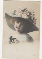 Little Girl Wearing Floral Hat Vintage RPPC Postcard Children US075