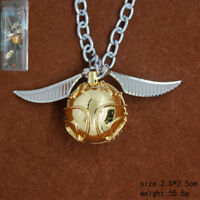 Quidditch Golden Snitch Pendant Necklace Kid's Halloween Gift Cosplay Accessory