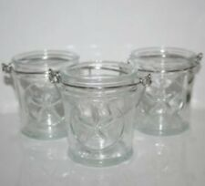 YANKEE CANDLE 3 VOTIVE HOLDER SET ~ GLASS STAR ~ FRENCH GLASS