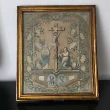 Tableau XVIIIè Epoque Louis XVI Broderie Crucifixion Georgian Embrodery 18thC