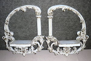 """Pair Of Vintage Shabby Chic French Wall Shelves - 19 3/4"""" by 16"""""""