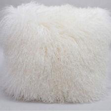 "45x45cm Mongolian Lamb Wool Cushion White Curly Fur Pillowcase 18*18"" High-grade"