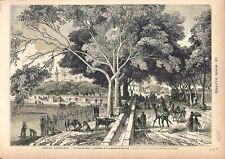 Egypte Campagne du Caire Promenade de Choubrah Minaret Mosquée GRAVURE 1882
