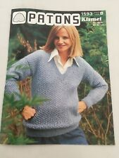 Patons womens sweater jumper vintage knitting pattern 1593 Kismet yarn