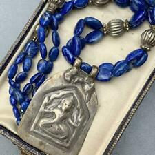 Beaded Amulet Pendant Necklace Vintage Tribal Sterling Silver Lapis