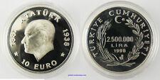 TURQUIE ,  2 500 000 LIRA  ARGENT ,  ATATURK 1998 , FDC