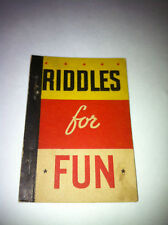 1938 RIDDLES HOBBY BOOK ICE CREAM LID WHITMAN BIG LITTLE PENNY BOOK PREMIUM