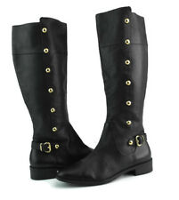 Michael Kors Carney Black Leather Cuban Heel Zip Knee High Boots US Size 6 M