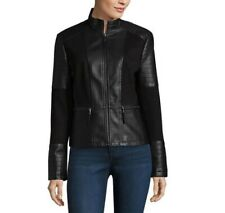 Women's ana Faux Leather Midweight Motorcycle Jacket Black Size: XL - MSRP $120