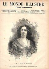 Portrait de la Reine des Pays-Bas Hollande à la Haye d'Edmond Morin GRAVURE 1877