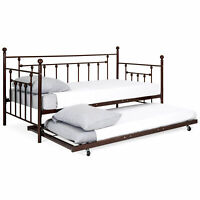 BCP Twin Sized Metal Lounge Daybed Frame w/ Trundle, Finials