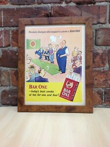 Framed Original Vintage Bar One Cigarettes Ad from Picture Post magazine 1952
